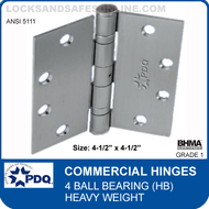 "PDQ Commercial Hinges | 5111 - 4 Ball Bearing (4-1/2""x4-1/2"")"