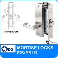 Grade 1 Single Cylinder Store Room Mortise Locks | PDQ MR115 | F Series Escutcheon Trim