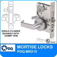 Grade 1 Single Cylinder Deadbolt with Dummy Trim Mortise Locks | PDQ MR215 | J Series Sectional Trim