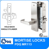 Grade 1 Hold Back Single Cylinder Locks Mortise | PDQ MR113 | J Wide Escutcheon Trim