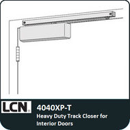 LCN 4040XP-T heavy duty track closer for interior doors. LCN's most flexible heavy duty track style closer, interior hinge side, top jamb, stop face mounting, single lever arm.