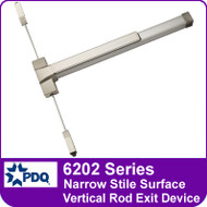PDQ 6202 Series Narrow Stile Surface Vertical Rod Exit Devices - Grade 1