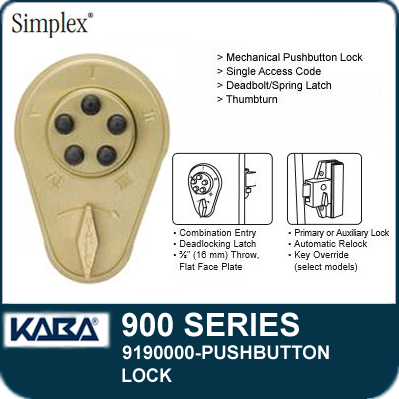 Simplex 900 Series 9190000 Mechanical Pushbutton Lock