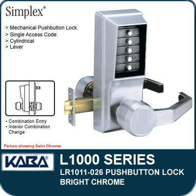 Simplex LR1011-026 - Mechanical Pushbutton Lock - Bright Chrome