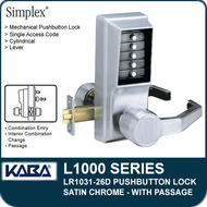 Simplex LR1031-26D - Mechanical Pushbutton Lock With Passage - Satin Chrome