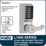 Simplex LR1041-26D - Mechanical Pushbutton Lock With Key Override and Passage - Satin Chrome