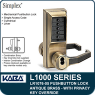 Simplex LR1076-05 Mechanical Pushbutton Knob Lock with Key Override and Privacy