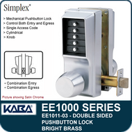 Simplex EE1011-03 Two Sided Mechanical Pushbutton Lock - Bright Brass