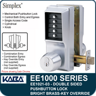 Simplex EE1021-03 Two Sided Mechanical Pushbutton Lock With Key Override - Bright Brass
