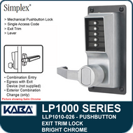 Simplex LLP1010-026 Mechanical Pushbutton Exit Trim Lock with Lever - Bright Chrome