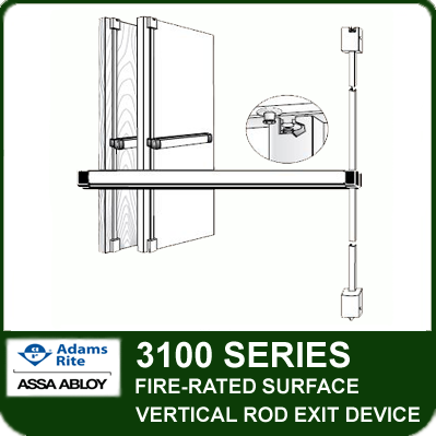 Adams Rite 3100 - Fire-rated Surface Vertical Rod Exit Device