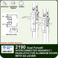 Adams Rite 2190 - Dual Force® Interconnected Deadbolt / Deadlatch for Aluminum Stile Doors - With 03 Lever