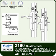 Adams Rite 2190 - Dual Force® Interconnected Deadbolt / Deadlatch for Aluminum Stile Doors - With MI Lever
