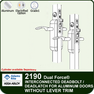 Adams Rite 2190 - Dual Force® Interconnected Deadbolt / Deadlatch for Aluminum Stile Doors - Without Lever/Trim