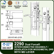 Adams Rite 2290 - Dual Force® Interconnected Deadbolt / Deadlatch for Wood or Hollow Metal Stile and Rail Doors - With MD Lever