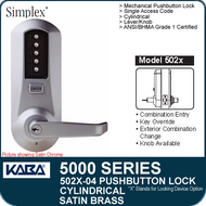 Simplex 5021-04 - Mechanical Pushbutton Cylindrical Lock - Satin Brass