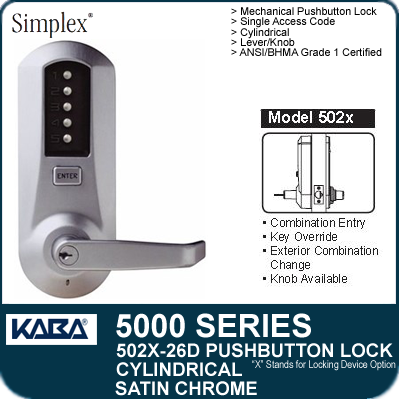 Simplex 5021 26d Mechanical Pushbutton Cylindrical Locks