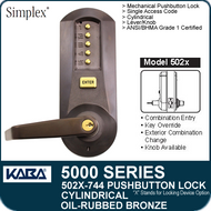 Simplex 5021-744- Mechanical Pushbutton Cylindrical Lock - Oil-Rubbed Bronze with Brass Accents