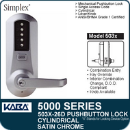 Simplex 5031-26D - Mechanical Pushbutton Cylindrical Lock - Satin Chrome