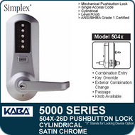 Simplex 5041-26D - Mechanical Pushbutton Cylindrical Lock - Satin Chrome