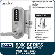 Simplex 5067 - Mechanical Pushbutton Mortise Lock