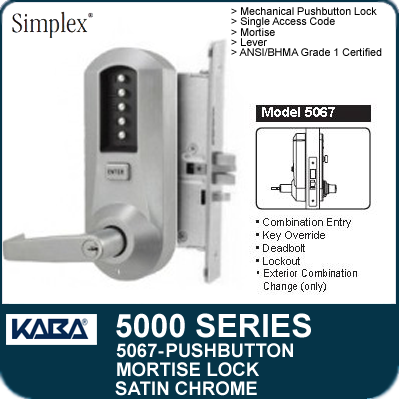Simplex 5067 Mechanical Pushbutton Mortise Locks