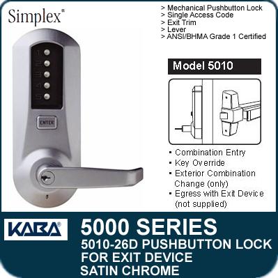 Simplex 5010 26D   Mechanical Pushbutton Exit Device Lock   Satin Chrome