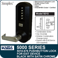 Simplex 5010-676 - Mechanical Pushbutton Exit Device Lock - Black with Satin Chrome Accents