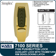 Simplex 7106 - Mechanical Pushbutton Auxiliary Lock with Thumbturn, Rim Deadlocking Latch