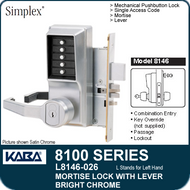 Simplex L8146 - Mechanical Pushbutton Mortise Lock with Lever with Key Override, Passage and Lockout - Bright Chrome