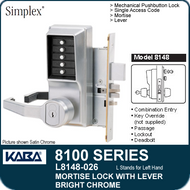 Simplex L8148-026 - Mechanical Pushbutton Mortise Lock with Lever with Key Override, Passage, Lockout and Deadbolt - Bright Chrome
