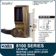 Simplex L8148-05 - Mechanical Pushbutton Mortise Lock with Lever with Key Override, Passage, Lockout and Deadbolt - Antique Brass