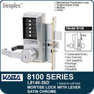 Simplex L8148-26D - Mechanical Pushbutton Mortise Lock with Lever with Key Override, Passage, Lockout and Deadbolt - Satin Chrome