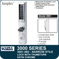 Simplex 3001-26D - Mechanical Pushbutton Narrow Stile Lock with Thumbturn for Aluminum Doors - Satin Chrome