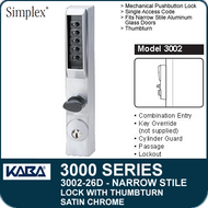 Simplex 3002-26D - Mechanical Pushbutton Narrow Stile Lock with Thumbturn for Aluminum Doors - Satin Chrome
