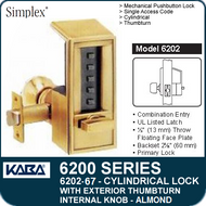 Simplex 6202-67 - Mechanical Pushbutton Cylindrical Lock with Exterior Thumbturn, Internal Knob - Almond