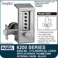 Simplex 6202-85 - Mechanical Pushbutton Cylindrical Lock with Exterior Thumbturn, Internal Knob - Black