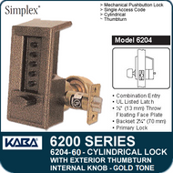 Simplex 6204-60 - Mechanical Pushbutton Cylindrical Lock with Exterior Thumbturn, Internal Knob - Gold Tone