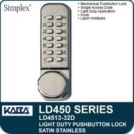 Simplex LD4513-32D - Light Duty Mechanical Pushbutton Lock Latch Holdback, Knob - Satin Stainless