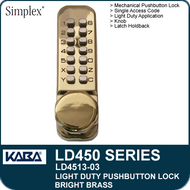 Simplex LD4513-03 - Light Duty Mechanical Pushbutton Lock Latch Holdback, Knob - Bright Brass