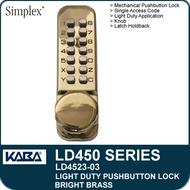 Simplex LD4523-03 - Light Duty Mechanical Pushbutton Lock Latch Holdback, Knob - Bright Brass