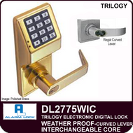 Alarm Lock Trilogy DL2775WIC - Weatherprrof Interchangeable Core with Regal Curved Lever