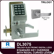Alarm Lock Trilogy DL3075 - Standard Key Override with Regal Curved Lever