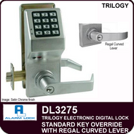 Alarm Lock Trilogy DL3275 - Standard Key Override with Regal Curved Lever