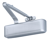 """The LCN 4040 door closer has a double lever, forged steel arm, has an aluminum powder coated finish, and is for use in heavy duty applications on interior or exterior doors. The hydraulic cylinder is made of cast iron, has a forged steel piston and double heat treated steel pinion for resistance to wear, wide bearings for increased load capacity, and is certified for 10 million cycles. All-weather hydraulic fluid helps reduce the need for seasonal adjustment. The double lever arm is made of forged steel for high traffic settings, and can be installed for a regular or a top-of-jamb mount. The door closer is non-handed, for installation on doors with hinges on the right or left side, and includes a plastic cylinder cover. The spring force required to open the door is adjustable from sizes 1 to 6 for interior doors up to 60"""" wide, or exterior doors up to 48"""" wide, to help comply with the Americans with Disabilities Act (ADA) when properly installed. The aluminum powder coat finish helps provide resistance to corrosion. The door closer meets American National Standards Institute (ANSI)/Builders Hardware Manufacturers Association (BHMA) A156.4 grade 1 standards for commercial buildings. It is also Underwriters Laboratories (UL) listed for a 3-hour fire rating, and complies with the UL 10C positive pressure fire test. Specifications CylinderCast iron with forged steel piston, double heat treated steel pinion, and wide bearings Arm constructionForged steel main and forearm CoverPlastic MountingHinge (pull) side, or top jamb (push) Interior door width24"""" to 60"""" Exterior door width24"""" to 48"""" Maximum door opening180 degrees ANSI/BHMA gradeGrade 1 Cycles10 million UL compliance3-hour fire rating, UL 10C  Commercial grade door closers mechanically return a door to closure for security, conservation of heating and cooling, and fire safety. A hydraulic cylinder attached to an arm regulates the speed of closure with separate adjustments for the door's sweep and latch (the final 10"""