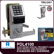 Alarm Lock Trilogy PDL4100 - ELECTRONIC DIGITAL PROXIMITY LOCKS, WITH PRIVACY & RESIDENCY FEATURES - Standard Key Override
