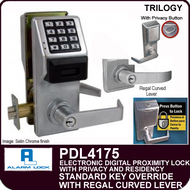 Alarm Lock Trilogy PDL4175 - ELECTRONIC DIGITAL PROXIMITY LOCKS, WITH PRIVACY & RESIDENCY FEATURES - Standard Key Override with Regal Curved Lever