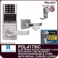 Alarm Lock Trilogy PDL4175IC - ELECTRONIC DIGITAL PROXIMITY LOCKS, WITH PRIVACY & RESIDENCY FEATURES - Interchangeable Core with Regal Curved Lever