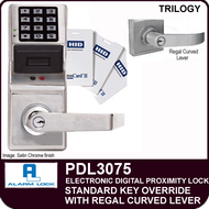 Alarm Lock Trilogy PDL3075 - ELECTRONIC DIGITAL PROXIMITY LOCKS - Standard Key Override with Regal Curved Lever