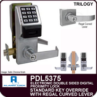 Alarm Lock Trilogy PDL5375 - ELECTRONIC DOUBLE SIDED DIGITAL PROXIMITY LOCKS - Standard Key Override with Regal Curved Lever